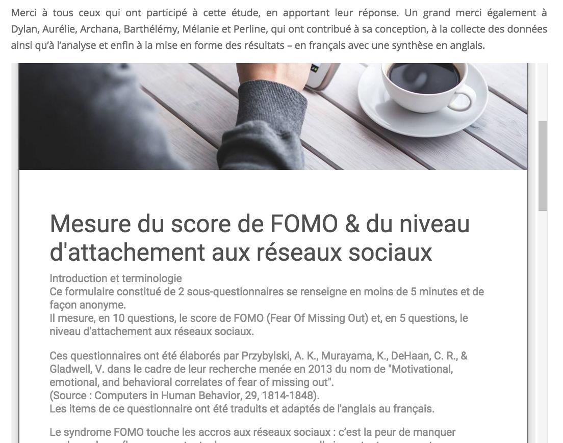 Clôture de l'étude sur le FOMO dans la population française