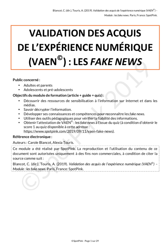 Guide VAEN fake news